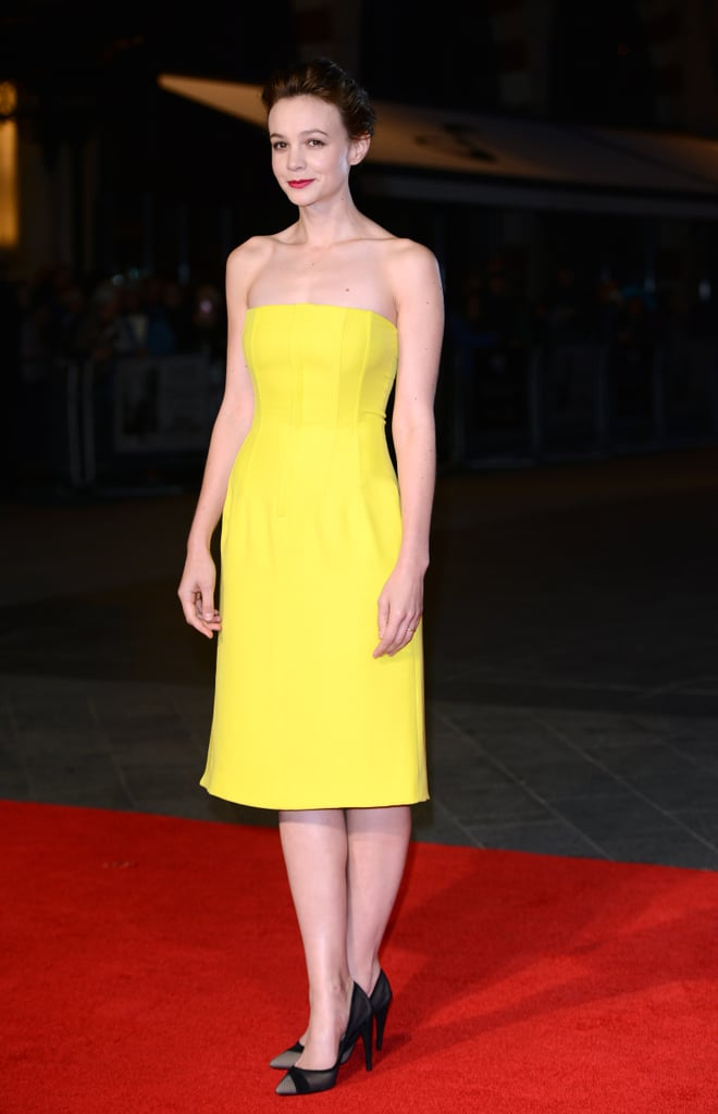 Carey Mulligan went in a different direction from the week's darker hues and opted for Dior's matte silk and wool crepe cocktail dress at the BFI London Film Festival premiere of Inside Llewyn Davis.