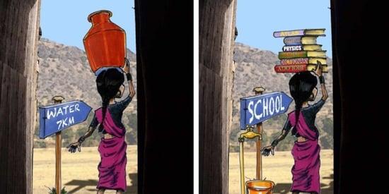 Cartoonist Reimagines World Where Girls Haul Books, Not Water