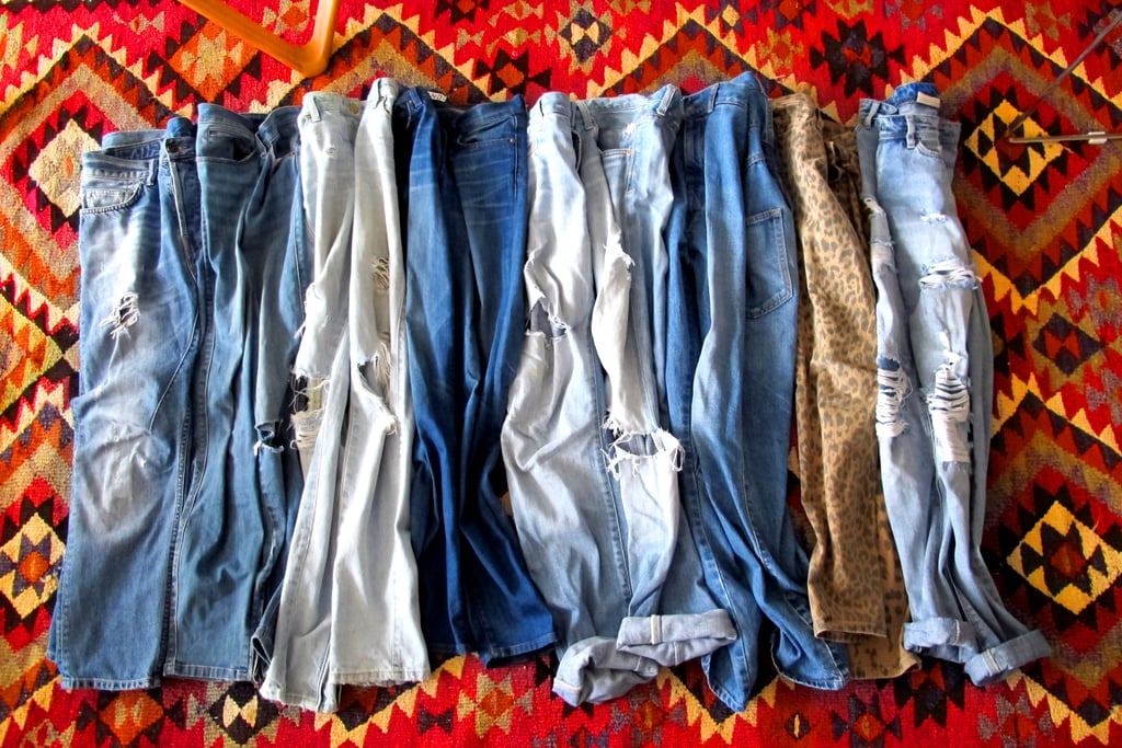 I have a very large denim collection as jeans are my staple — this is just a selection. My current faves are vintage trashed boyfriend jeans, skinny J Brands or Current/Elliotts and drop crutch Bassike 'low slungs'.