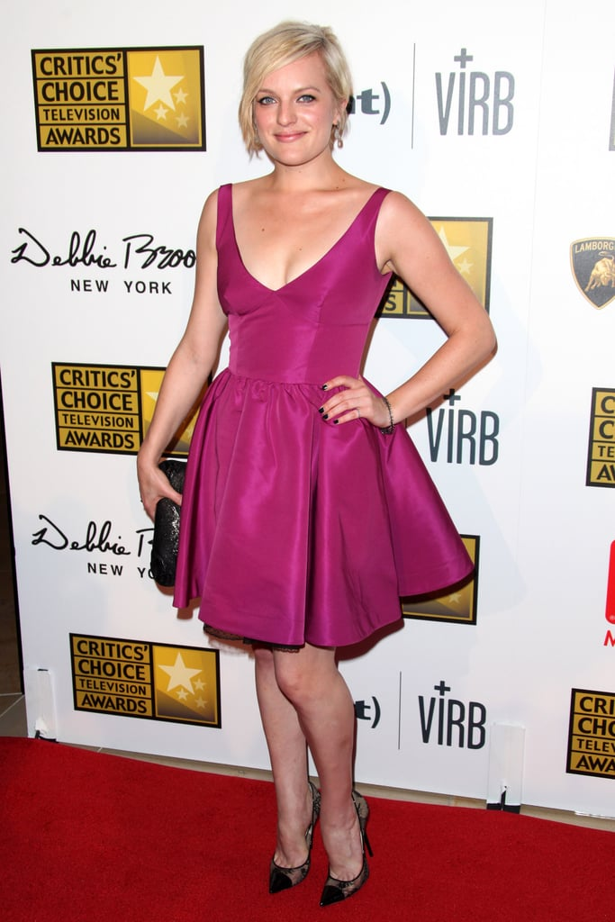 Elisabeth Moss was flirty in fuchsia and Jimmy Choo pumps at the Critics' Choice Television Awards in Beverly Hills.
