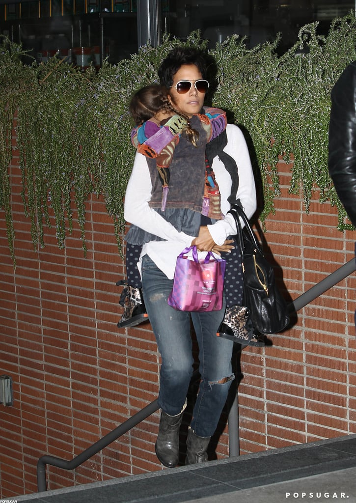 Halle Berry carried Nahla Aubry to the movies in LA.