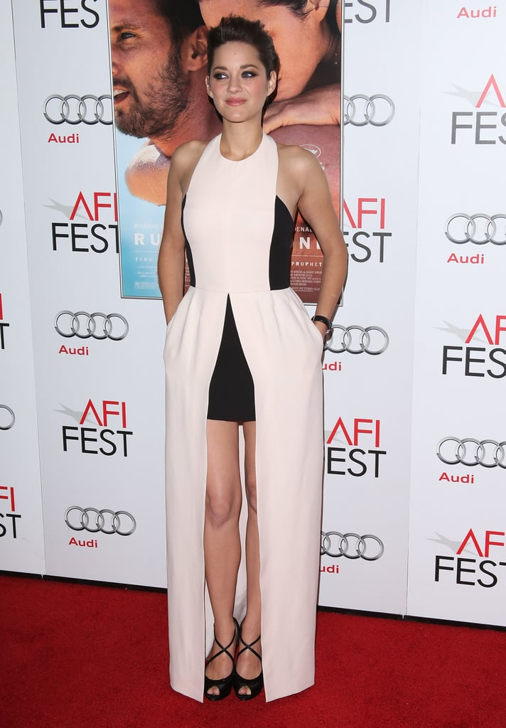 Marion Cotillard looked stunning in a black and white dress.