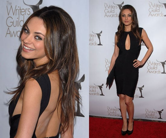 Mila Kunis Wearing a Black Keyhole Dress