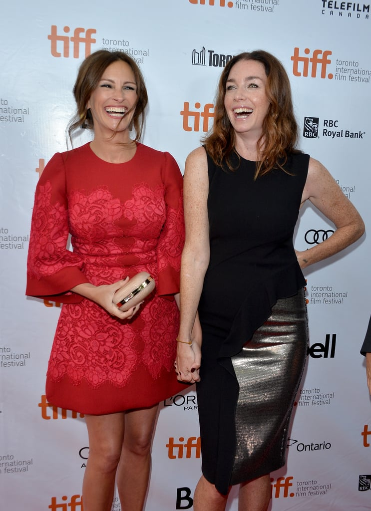 Julia Roberts laughed with her August: Osage County costar Julianne Nicholson.