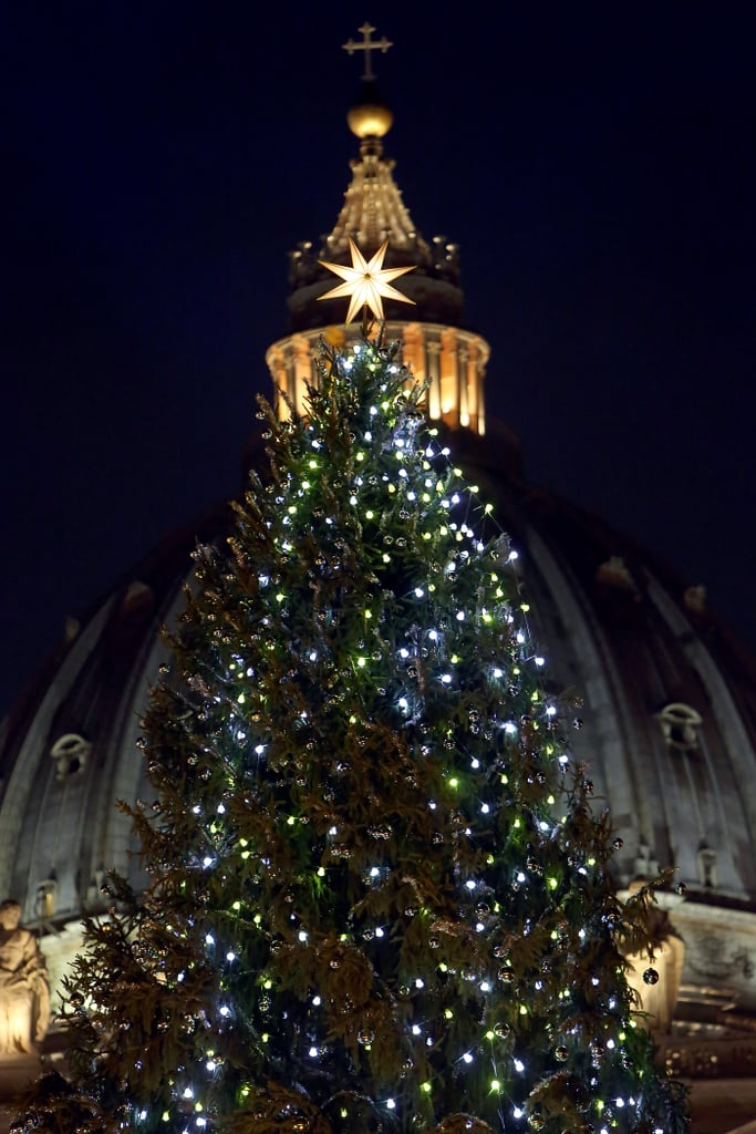 A 25-meter Christmas tree lit up St. Peter's Square in Vatican City.