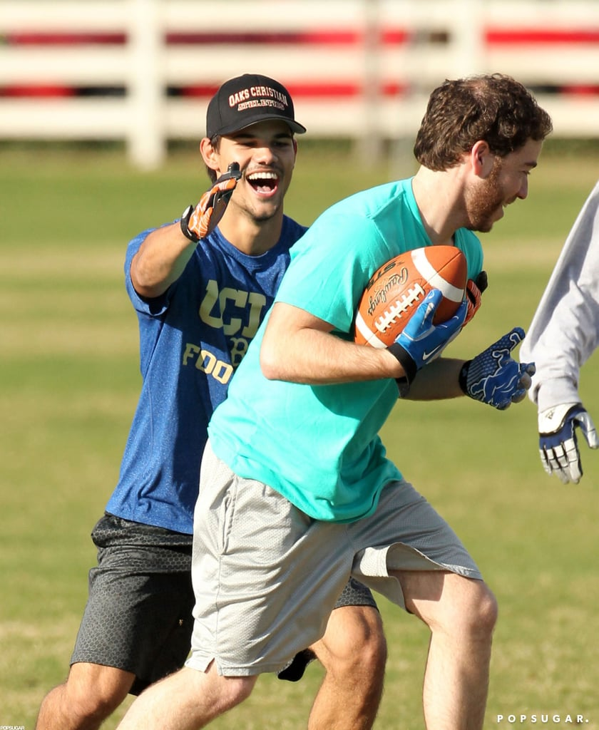 Taylor Lautner tackled a friend.