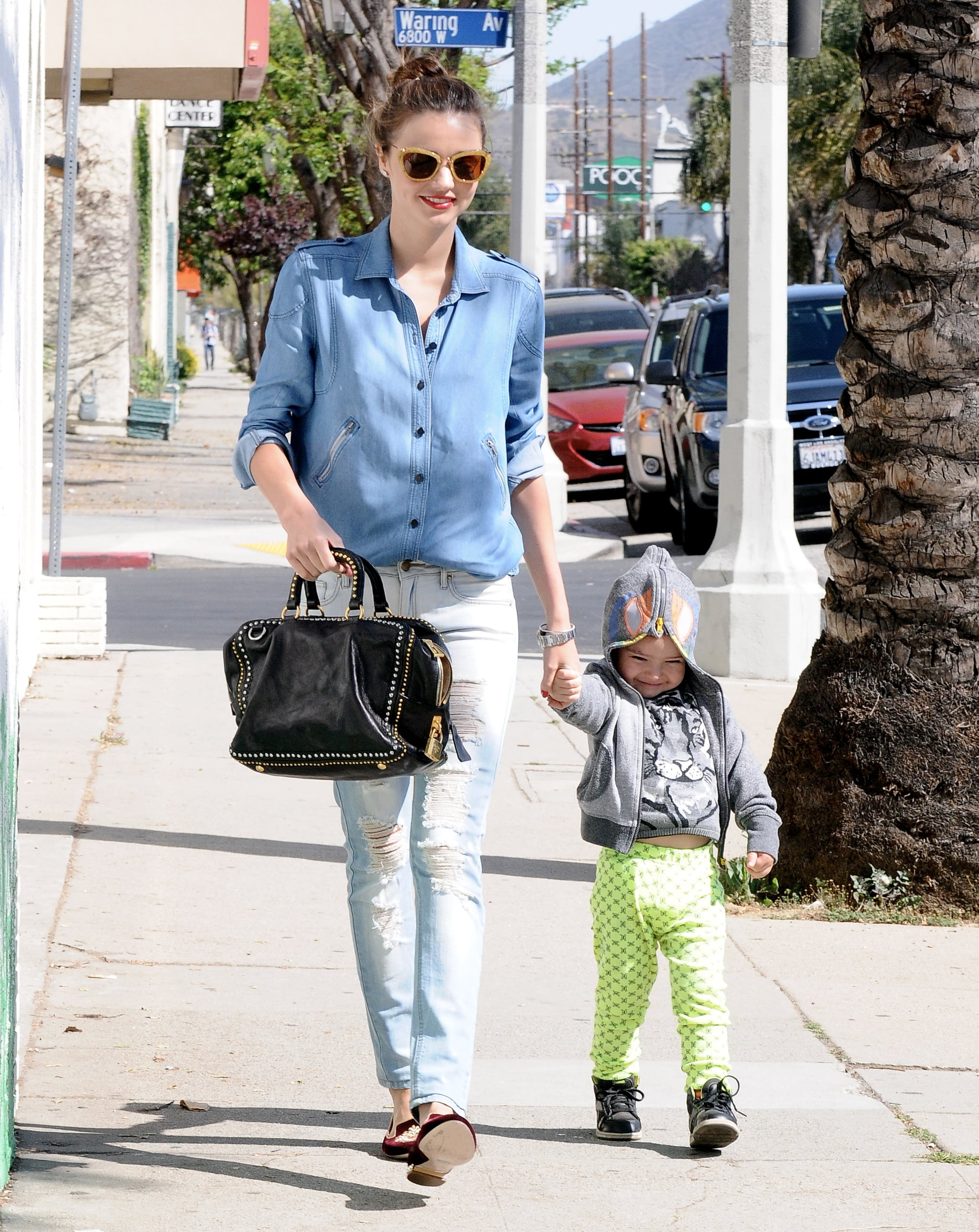 Miranda Kerr doubled up on denim and added flats for a casual everyday look.