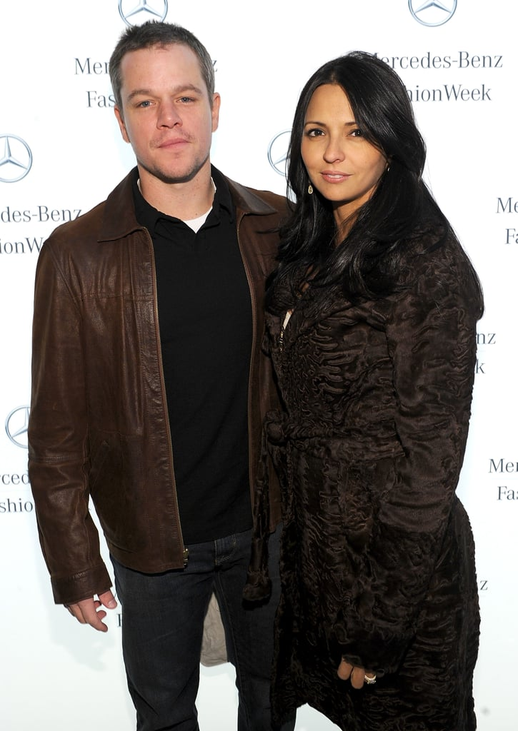 Matt and Luciana Damon posed together before the Naeem Khan presentation.