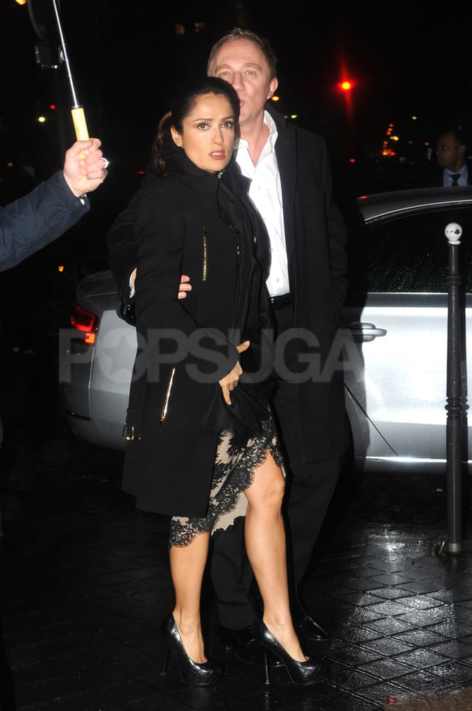 Salma Hayek was escorted by François-Henri Pinault to Prada's afterparty in Paris.