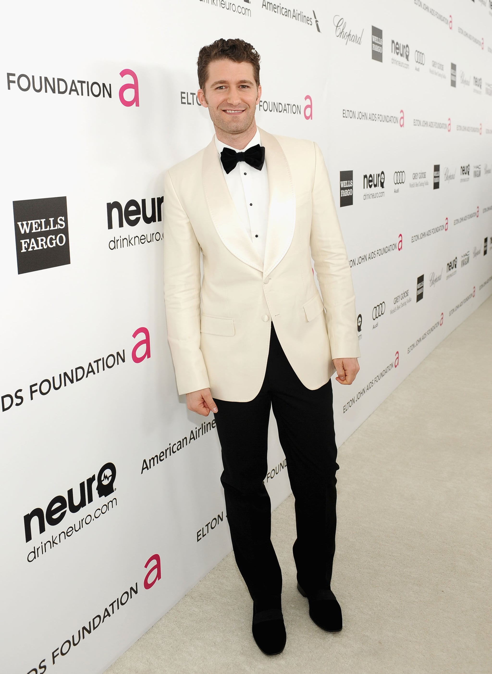 Matthew Morrison wore a white jacket to Elton John's Oscar party in LA.