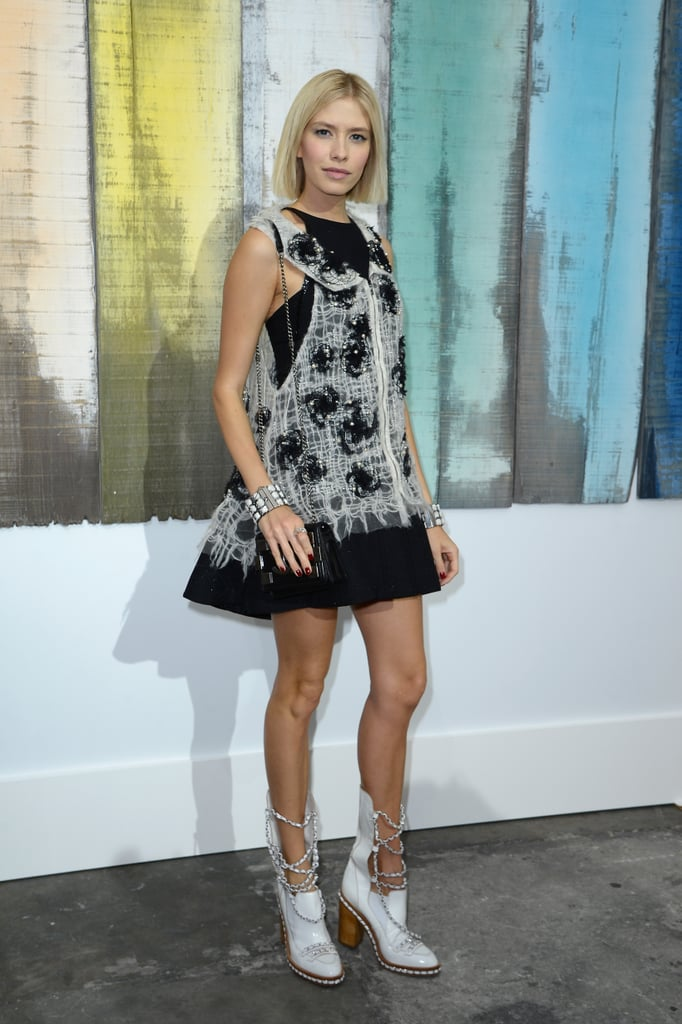 Elena Perminova stepped out for Chanel at the label's Paris Fashion Week show.