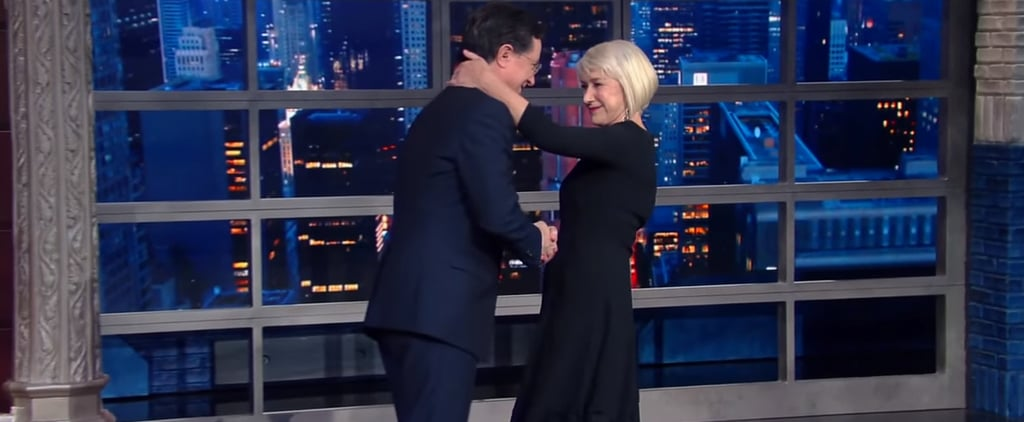 Watch Stephen Colbert's Priceless Reaction to Helen Mirren's Surprise Kiss