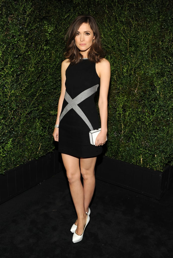 Rose Byrne wore white Chanel pumps at the Chanel pre-Oscar dinner at Madeo in LA. She styled them up with a black-and-silver Chanel dress and a white box clutch.