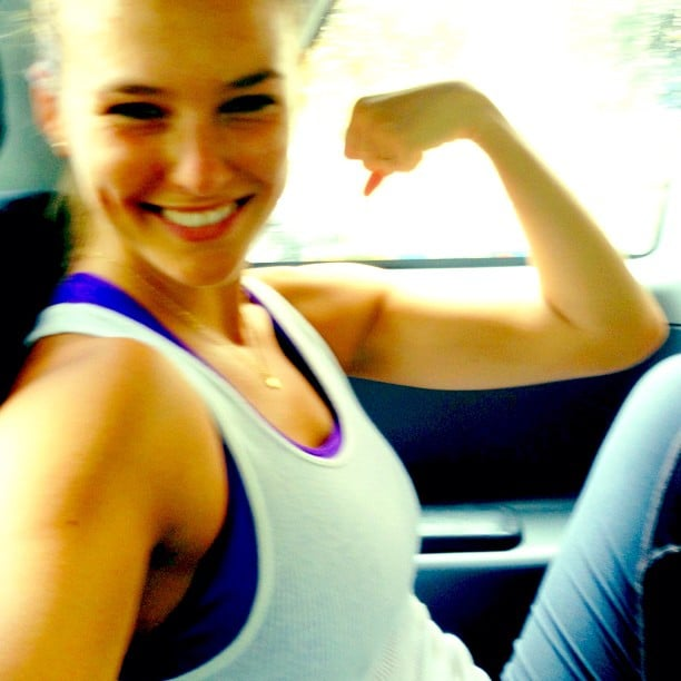Bar Refaeli fit in a few workouts while on the road in August.