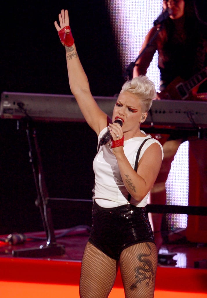Pink performed in fishnets.