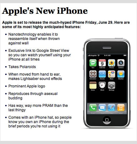 The Onion's Faux iPhone Ad