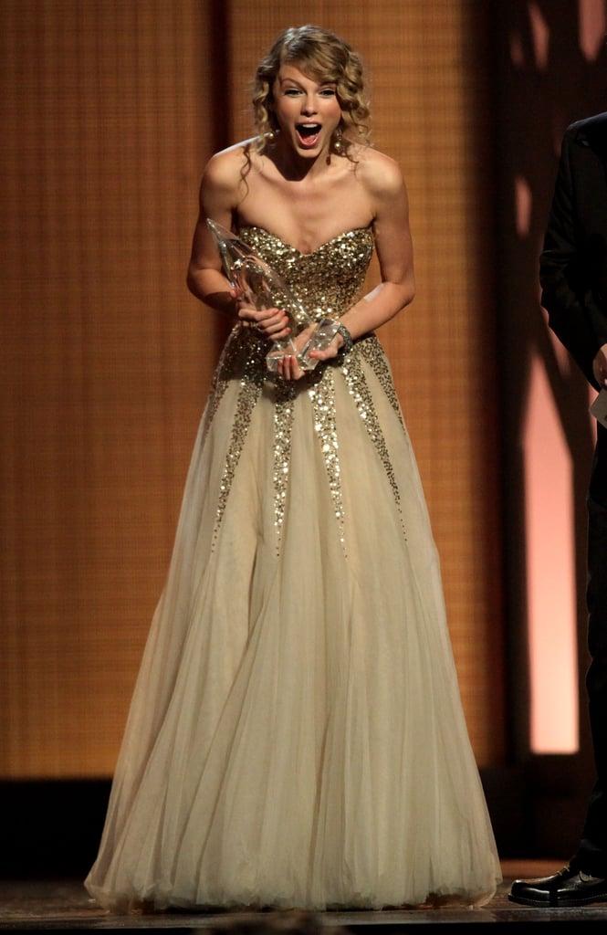 Taylor Swift was shocked upon winning an award at the CMAs in November 2009.