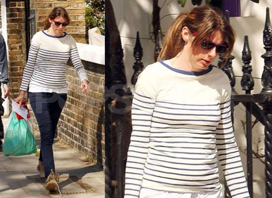 Photos of Pregnant Jools Oliver in London as Jamie Oliver Campaigns For Better Lunch Menus in UK and US Schools