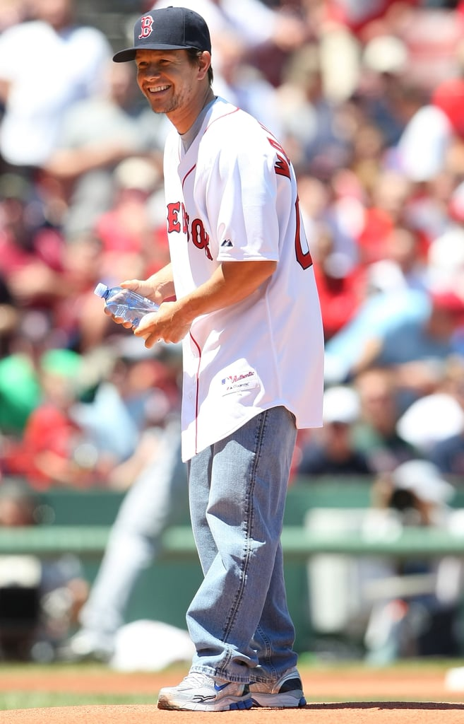 In July 2009, Mark Wahlberg wore his Boston Red Sox gear to throw out the first pitch at Fenway Park.