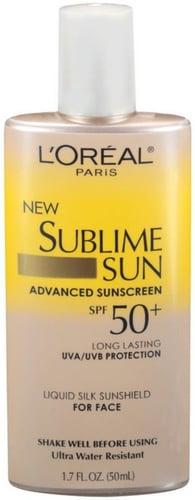 L'Oreal Sublime Sun Advanced Sunscreen SPF 50+ Liquid Silk Sunshield For Face