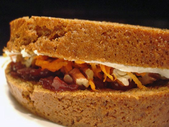 Recipe For Pumpkin Bread Sandwich With Pecans and Cream Cheese For Halloween