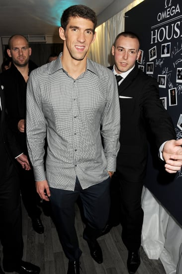 Michael Phelps made his way into the party in London.
