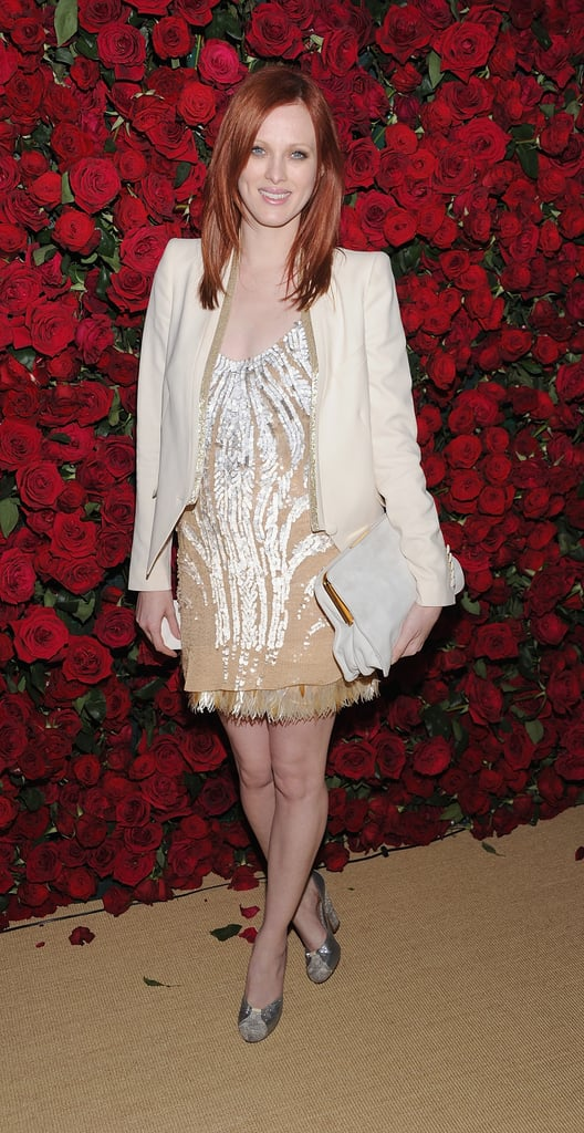 Karen Elson wore an intricate and pale dress to the MoMA.