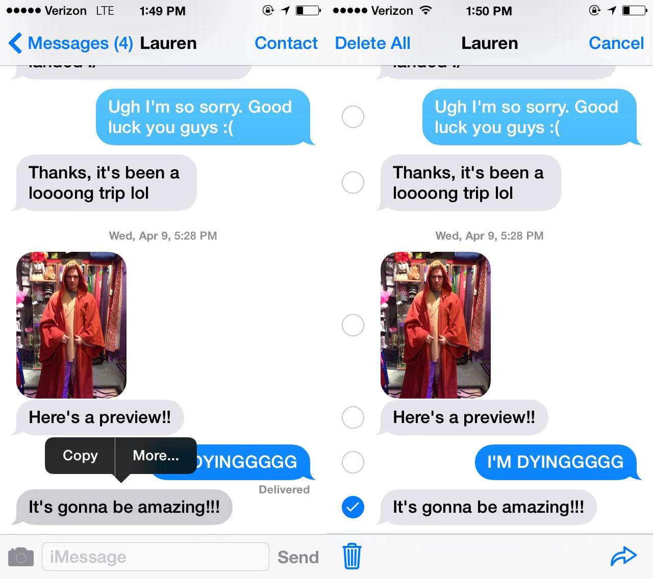 Delete a Text Message