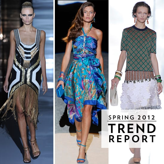 Runway Trends from Milan 2012 Spring Summer Fashion Week: 1920s, crochet, scarf prints, texture and tropical prints