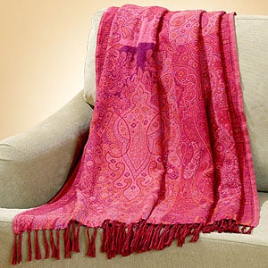 Raspberry Paisley Throw ($50)