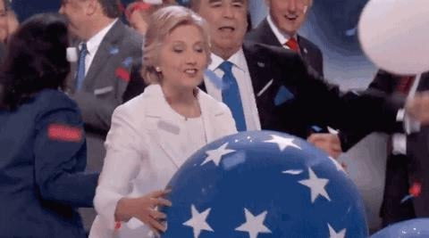 Bill and Hillary Clinton Playing With Balloons at DNC 2016