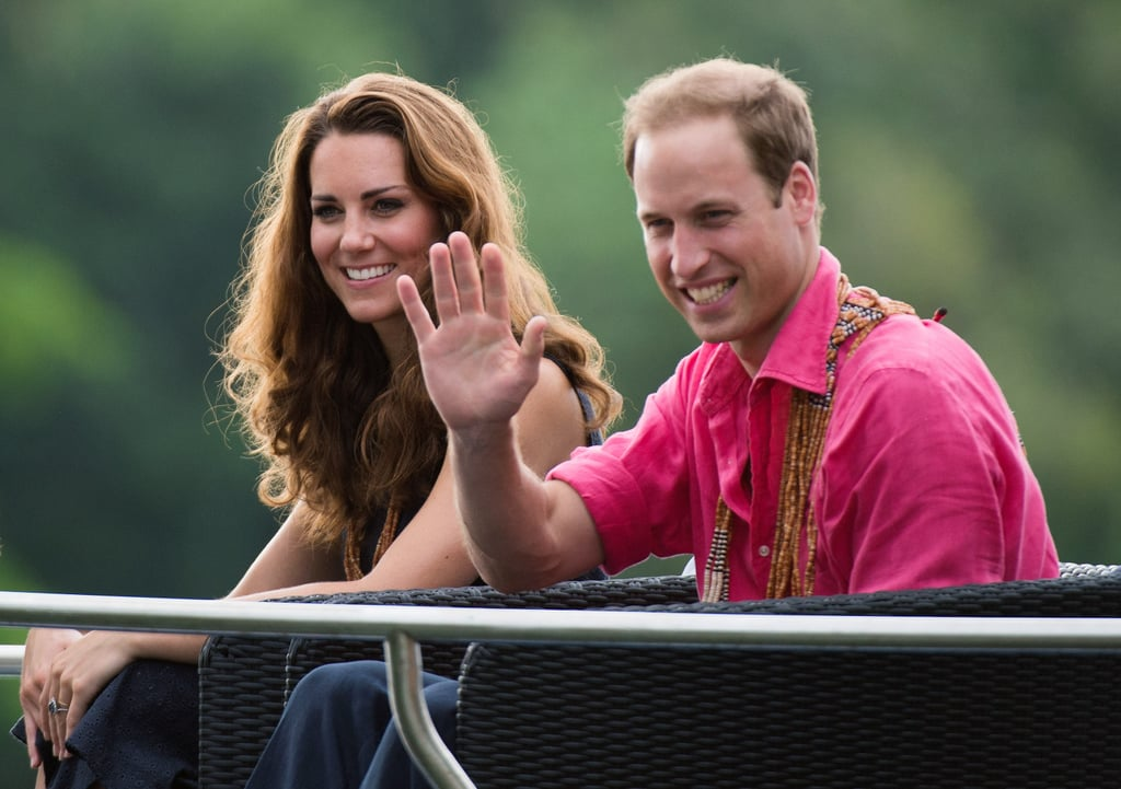 Kate Middleton and Prince William traveled by boat.