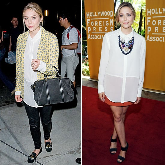 Elizabeth Olsen makes perfect use of a staple white blouse. The semi-sheer button-down works just as well with edgier leather bottoms as it does for a more femme and polished style.  4815007
