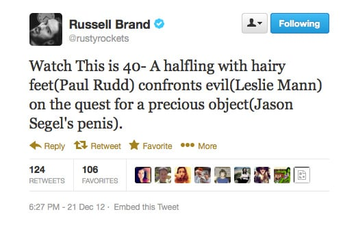Russell Brand's take on new film This Is 40 is different to most, but sounds kind of appealing, no?