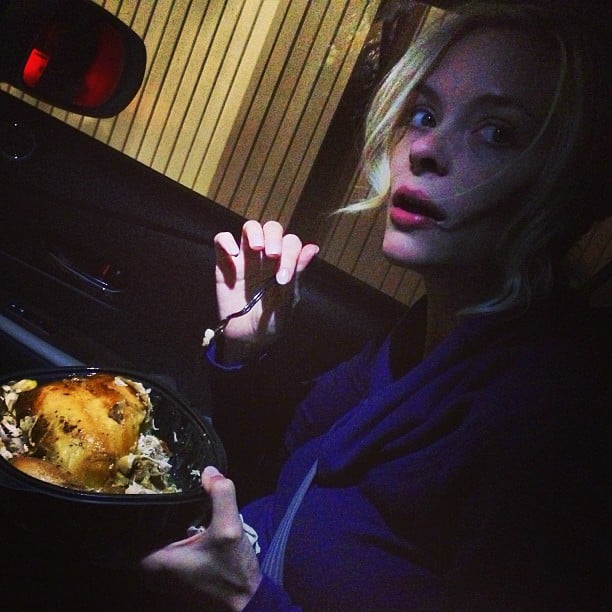 """Pregnant Jaime King asked her followers if it was wrong to """"eat your rotisserie chicken with a spoon.""""  Source: Instagram user jaime_king"""