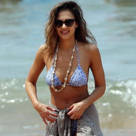 Jessica Alba's Beach Workout