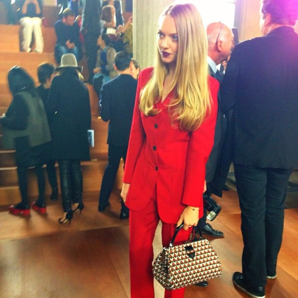 Amanda Seyfried took in the Miu Miu show during Paris Fashion Week. Source: Instagram user luckymagazine