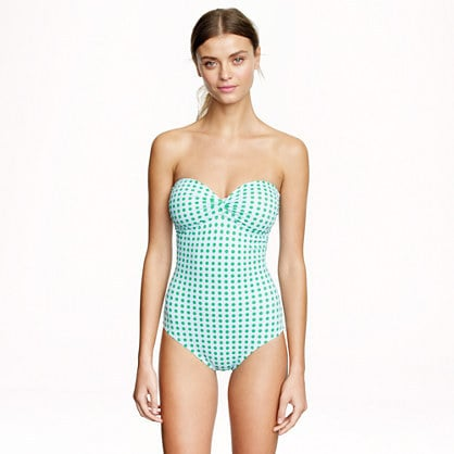 J.Crew Dotted Bandeau One-Piece
