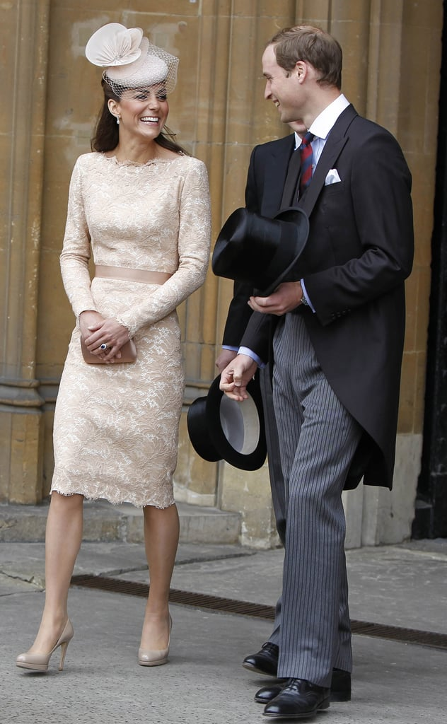 Her lacy nude Alexander McQueen sheath matched perfectly with her pumps and hat at the Diamond Jubilee luncheon in early June 2012.