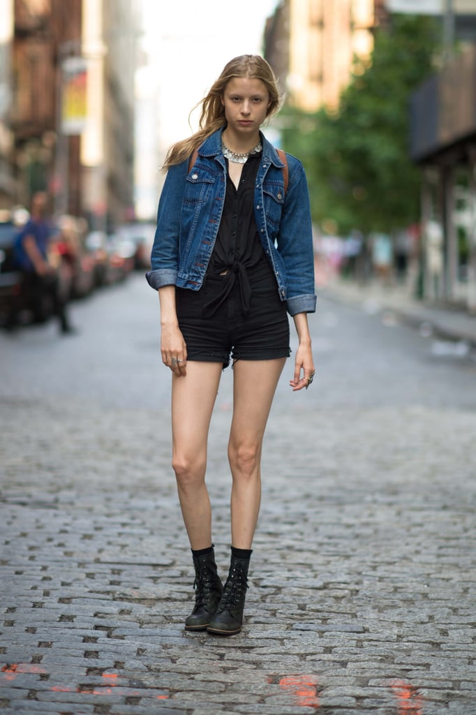 Up the ante on basic black with a statement necklace and a classic denim jacket.