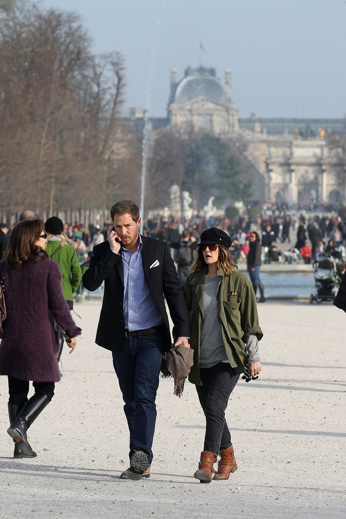 Drew Barrymore and fiancé Will Kopelman take a stroll in Paris.