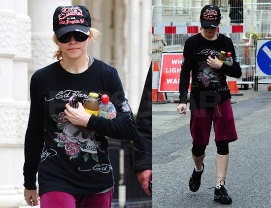 Photos of Madonna with A Wrapped Left Ankle, Going to the Gym
