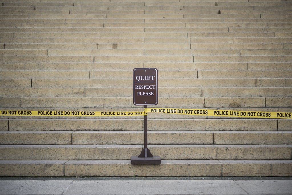 The steps of the Lincoln Memorial were blocked off with police tape.
