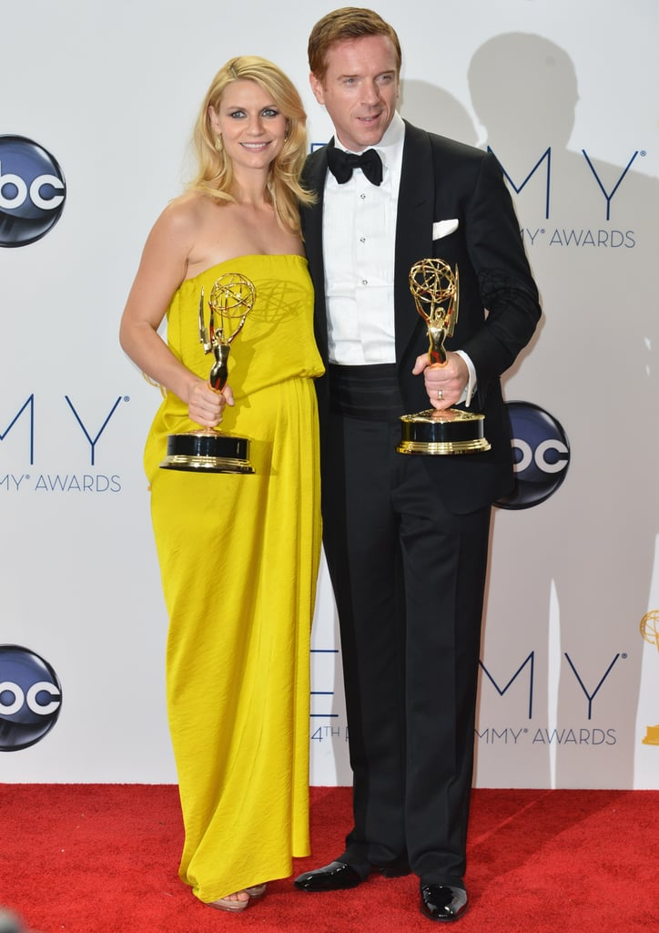 Homeland co-stars Claire Danes and Damian Lewis posed with their awards after the 2012 show.