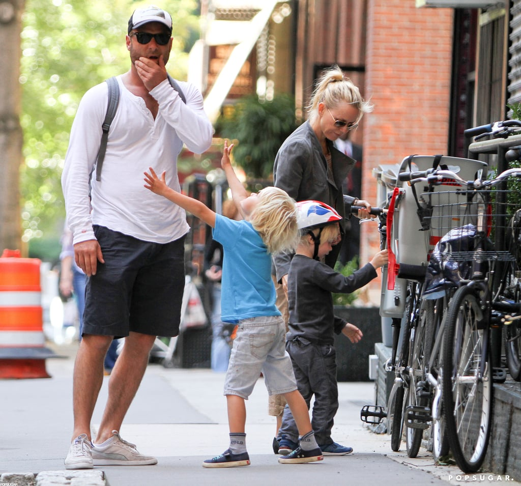 Liev Schreiber and Naomi Watts geared up for a bike ride with their boys.