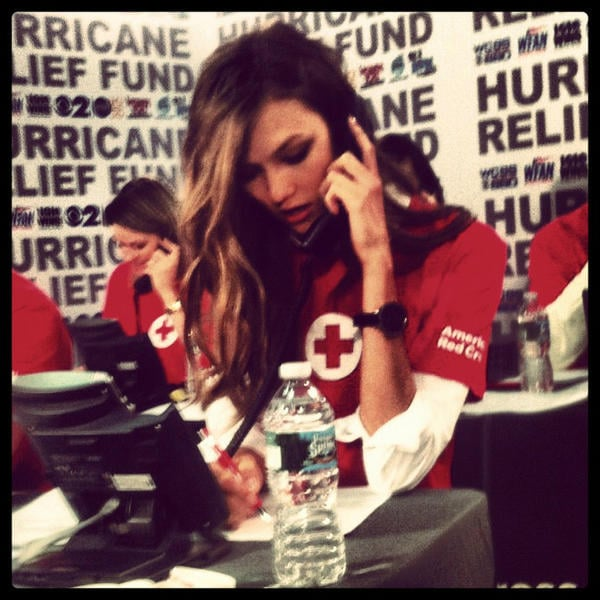 Karlie Kloss answered phones at the CBS Red Cross telethon. Source: Twitter user karliekloss
