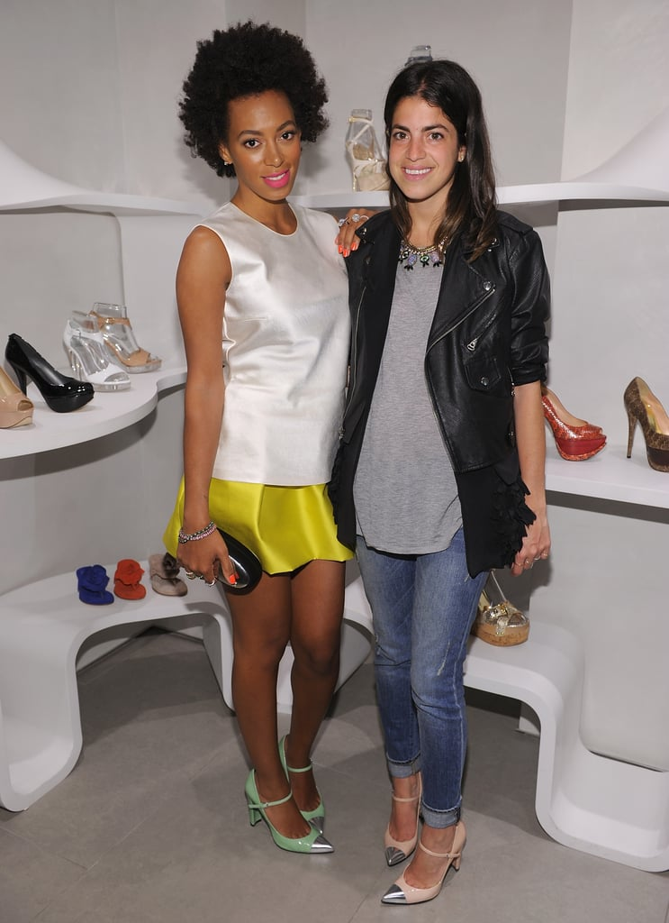 Solange and Leandra posing in their Stuart Weitzman cap-toe Mary Janes.