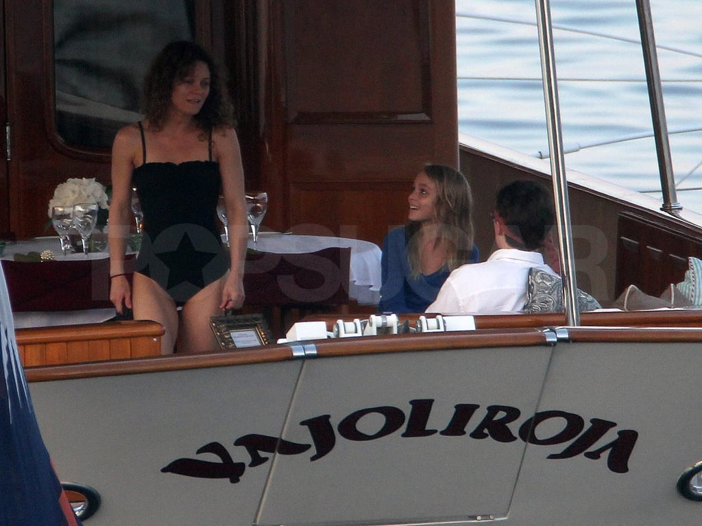 Vanessa Paradis looked great in her black one-piece swimsuit.