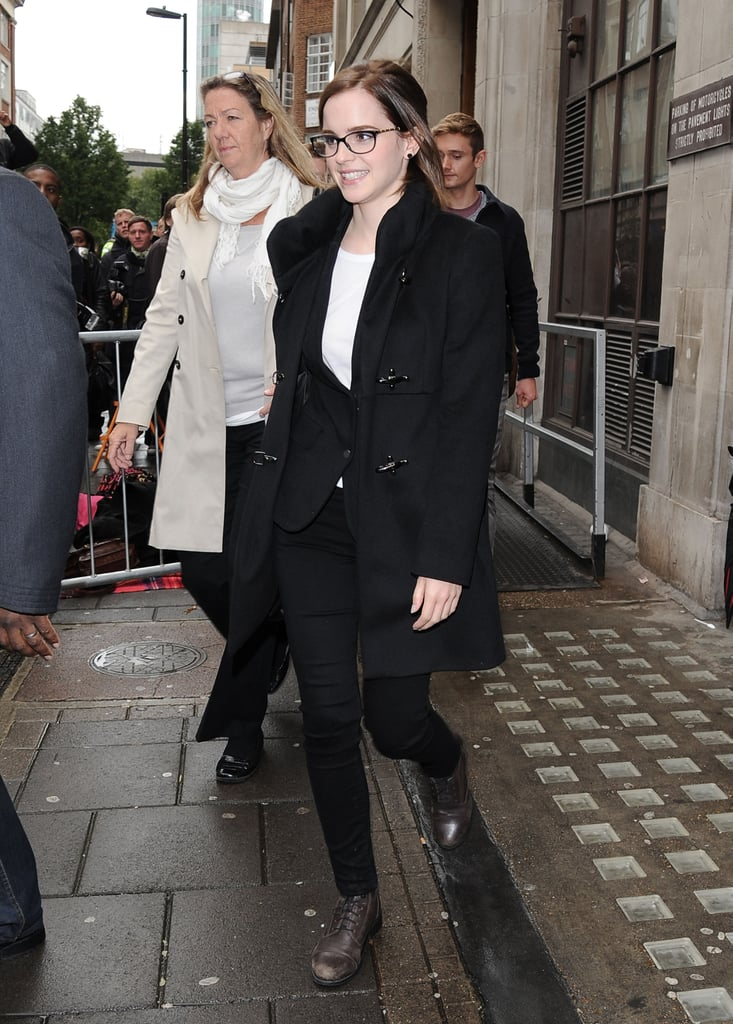 Emma Watson stopped by BBC Radio 1 in London.