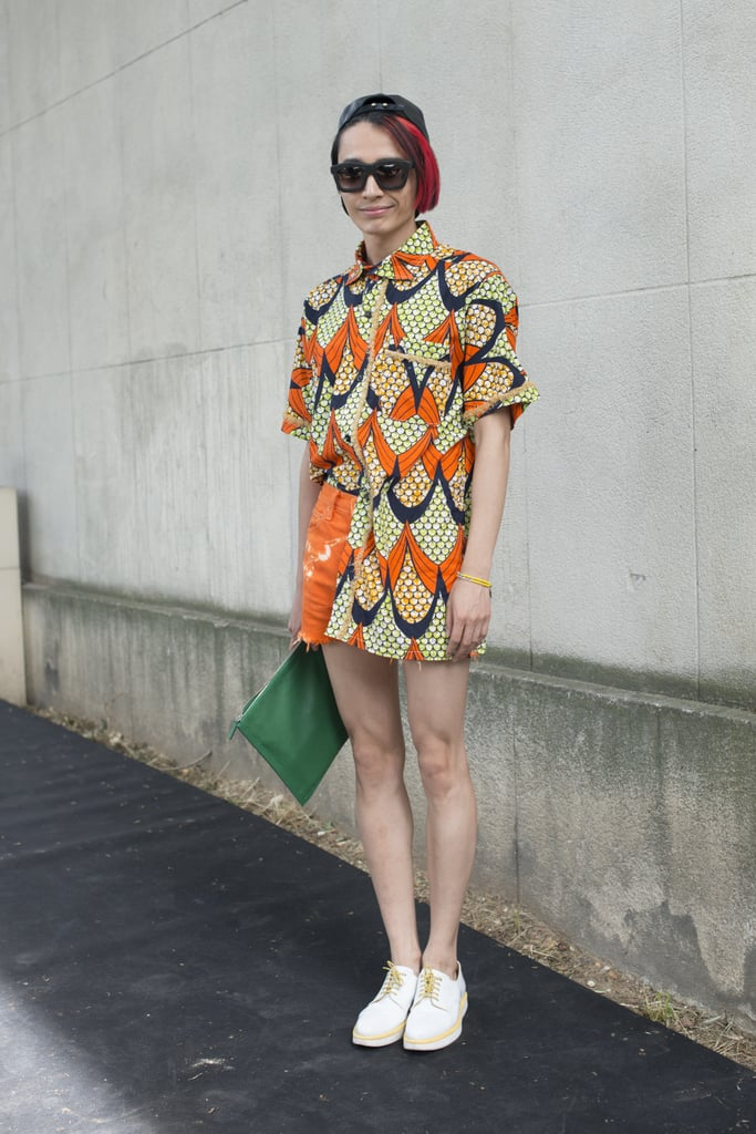 Settle the age-old debate of tucking in or out by doing it very loosely, like this stylish editor. At first glance, it looks like a minidress!